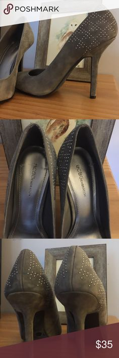 •BCBG• Grey Shoes Gorgeous Grey BCBG Shoes. Size 9/39. Never worn, excellent condition. Love this pair of shoes, but they are too high for me! Neat geometric studded design on heel. BCBGeneration Shoes Heels