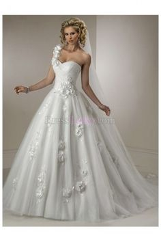 Ball Gown One Shoulder Sleeveless Hall Tulle Wedding Dresses With Flower(s) WD225D