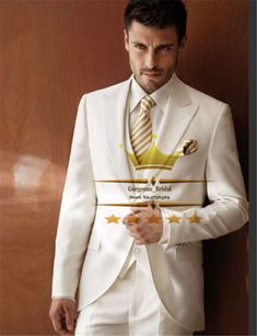 Find More Suits Information about Ivory Peak Lapel Mens Tuxedos Wedding Suit For Men With Pants Custom One Button 3 Piece Groom  (Jacket+Pants+Tie+Vest)  WY81003,High Quality suit football,China suits work Suppliers, Cheap suit hood from Gorgeous_Bridal on Aliexpress.com