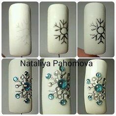 Christmas Nail Designs - My Cool Nail Designs Winter Nail Designs, Winter Nail Art, Christmas Nail Designs, Christmas Nail Art, Winter Nails, Nail Art Designs, Christmas Snowflakes, Rhinestone Nails, Bling Nails