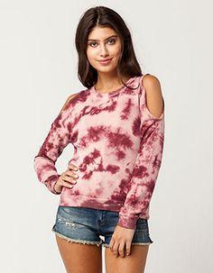 SKY AND SPARROW Tie Dye Womens Cold Shoulder Sweatshirt Pink