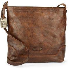 Frye Melissa Leather Shoulder Bag ($328) ❤ liked on Polyvore featuring bags, handbags, shoulder bags, dark brown, brown leather handbag, leather purse, brown handbags, leather handbags and dark brown leather handbag
