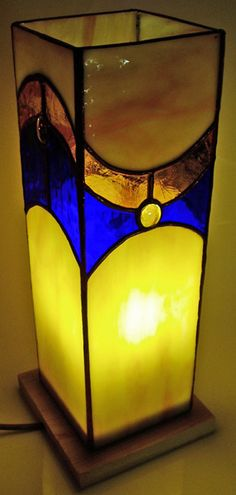 Tiffany stained glass box lamp by Pamela Holland