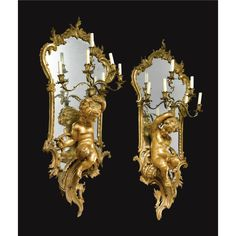 A large Pair of Napoleon III carved giltwood figural six-light girandoles French, circa 1870 Now wired for electricity. height 47 ½ in. French Furniture, Antique Furniture, Decorative Objects, Decorative Accessories, Decoration, Art Decor, Pottery Lessons, Luxury Mirror, Bronze Chandelier