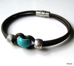 Bracelet homme cuir et perle turquoise N3054 : Bijoux pour hommes par ninanina …