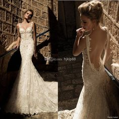Discount New Arrival Sexy Backless Galia Lahav Wedding Dresses Vintage Lace Beads Pearls Open Back Wedding Dress Spaghetti Bridal Gown 2014 2015 Online with $154.98/Piece | DHgate