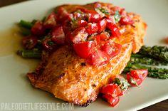 Salmon With Cherry Tomato Salsa And Asparagus
