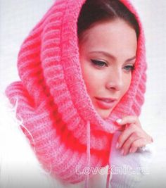 Схема спицами розовый шарф капюшон