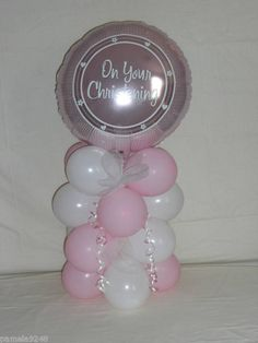 GIRLS CHRISTENING BALLOON DECORATION TABLE DISPLAY