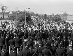 Massive police presence greeting pickets as they arrive on the hill heading to the Orgreave Coking Plant near Rotherham, May 1984