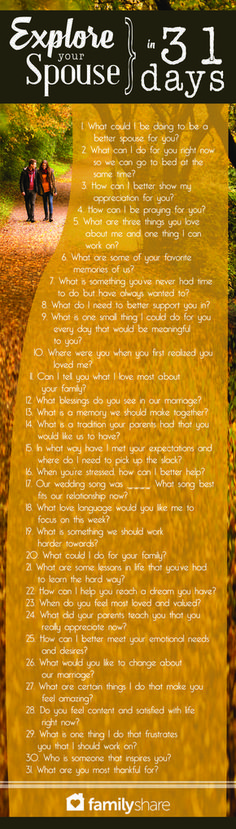 A question a day keeps divorce away.- not just married but I think these are just some great questions to ask in a relationship, period. Godly Marriage, Marriage And Family, Marriage Relationship, Happy Marriage, Marriage Advice, Strong Marriage, Relationship Repair, Better Relationship, Relationship Building