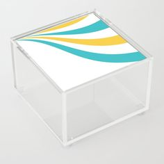 Turquoise and Yellow Wave Acrylic Box by laec Jewelry Gifts, Unique Jewelry, Good Advice For Life, Storage Places, Acrylic Box, Waves, In This Moment, Turquoise, Yellow