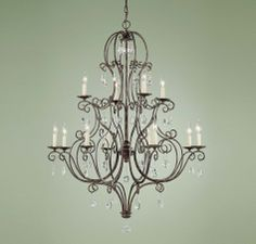 K - $1,199  Feiss Chateau Collection 12 Light Two Tier Chandelier  SKU# F1938/8+4MBZ  Our Price: $400