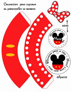 Mickey and Minnie in Red: Cute Free Printable Cupcake Wrappers and Toppers. Gateau Mickey Mouse, Mickey Mouse Cups, Mickey Cupcakes, Red Cupcakes, Fiesta Mickey Mouse, Mickey Mouse Parties, Mickey Mouse Birthday, Mickey E Minie, Theme Mickey