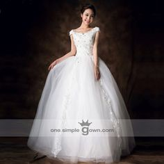 Lace Strap Embroidery V-Backless Sweep Ball Gown Floor Length Wedding Dress