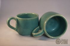 Mugs  Set Of 2  Duckegg Blue / Teal Cups by ThrownInStone on Etsy, £12.00