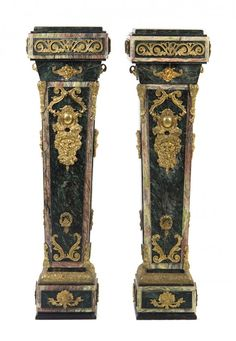 A Pair of Louis XVI Style Gilt Bronze Mounted Marble : Lot 112