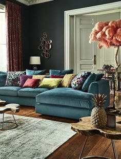 The striking Harrington Large Chaise Sofa is a fantastic addition to a home look. - The striking Harrington Large Chaise Sofa is a fantastic addition to a home looking for something a - Room Design, Living Room Sofa, Living Room Color, Interior, Sofa Design, Corner Sofa Living Room, Modern Sofa Designs, House Interior, Living Room Designs