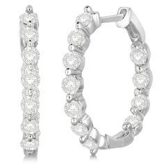 Inside Out Diamond Hoop Earrings Prong Set in White Gold Burgundy Nails, Diamond Hoop Earrings, Round Cut Diamond, Earring Set, Fine Jewelry, White Gold, Rose Gold, Jewels, Prong Set