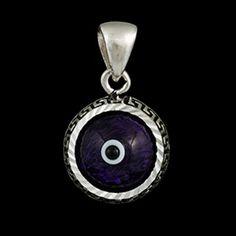 Pingente de prata redondo olho grego azul