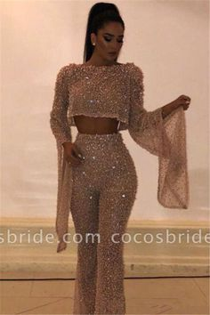 New Arrival Two Pieces Long Sleeves Crystals Crew Floor-Length Open Back Prom - Kleider Sequin Evening Gowns, Long Sleeve Evening Dresses, Prom Dresses Long With Sleeves, Sexy Dresses, Fashion Dresses, Long Dresses, Sexy Long Dress, Dresses Uk, Elegant Dresses