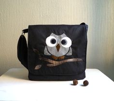 Messenger bag.Owl Applique.Rocko.Very Dark and shimmer grey casimir and plaid grey cotton.Ready To Ship.. $67.00, via Etsy.