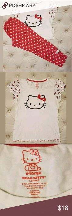 Hello Kitty Girl Pajama Set XL 4-6 Hello Kitty Girl size XLarge Red White 2 Piece Sleepwear Pajama Set.Please observe all pictures.Has normal wear from standard wash and wear such as some fading and pilling.Has bow on shirt and cuffs with zippers at ankle. May fit 4-6 yr range.  Bottom Waist-approx 15.5 inches Inseam-approx 25 inches  Top  Armpit to Armpit-approx 17.5 inches Shoulder to Hem-approx 24 inches  Please be aware that measurements are estimates Hello Kitty Pajamas Pajama…