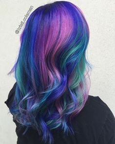 For Coleman to color and style her coworker's look, (pictured here) it took five and a half hours, from start to finish. | Galaxy Hair Is Here And It's Going To Blow Your Mind: