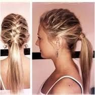 The ponytail hairstyle is a classic hairdo. We have 10 top ponytail hairstyles that will look great on any woman. French Braid Ponytail, Braided Ponytail Hairstyles, Pretty Hairstyles, Simple Hairstyles, Half Braid, Messy Ponytail, French Braids, Braid Hair, Sporty Hairstyles