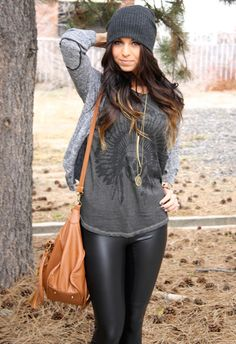 <3 I think I have all these pieces :) liquid leggings, vintage tee, cardie and hat