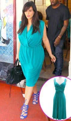 Covet: Kim Kardashian's Lanvin Wrap Front Sleeveless dress, $1,390. Love it: Fashion Junkee's Crossover Fauxe Wrap Vintage Inspired Jersey dress, $36