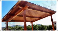 Panel Teja Albero - Madera Oscura Panel, Pergola, Outdoor Structures, Ideas, Dark Wood, Roof Tiles, Pictures, Thoughts, Arbors
