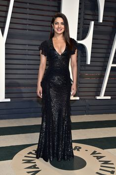 Priyanka Chopra in Michael Kors Collection attends the 2017 Vanity Fair Oscar Party hosted by Graydon Carter