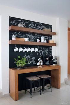 coffee station Before and after: Amazing chalkboard coffee bar Coffee Bars In Kitchen, Coffee Bar Home, Home Coffee Stations, Coffe Bar, Coffee Bar Station, Tea Station, Coffee Nook, Coffee Corner, Design Café