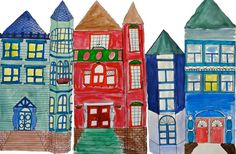 Victorian Houses - A water color lesson I am going to do with my 6th graders, except I am going to have them add perspective with it!