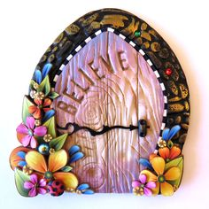 Believe Fairy Door,Miniature Pixie Portal, Home and Garden Decor, Polymer Clay Door by Claybykim on Etsy