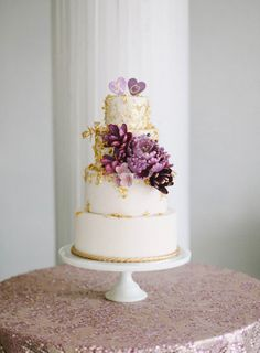 gold wedding cake ideas | Purple and Gold Wedding Cake