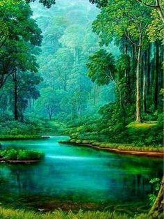 Cascada Río del bosque natural arte de la pared de lona triple cuadro enmarcado cuadro