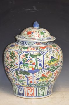 Chinese Wucai Lidded Porcelain Jar H: 17.5 Inches