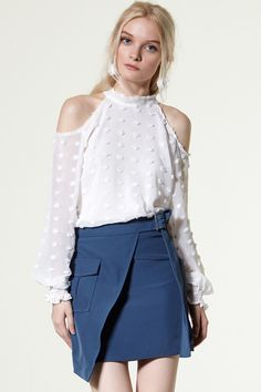 White cold shoulder blouse Discover the latest fashion trends online at storets.com