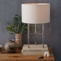 "Acrylic Framework Table Lamp #westelm. on sale $100. Single 60w bulb. Overall product dimensions: 16""diam. x 20""h."