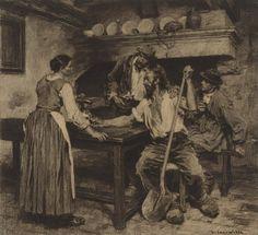 Léon Augustin Lhermitte (French, 1844-1925) LE CABARET, DIT À TORT LE POT DE VIN charcoal on paper 16 1/2 by 17 7/8 in. 41.9 by 45.5 cm