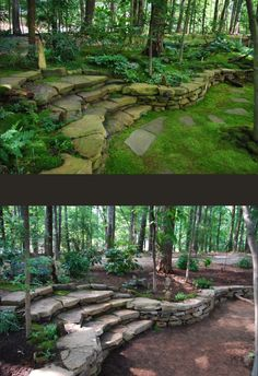Fantastic landscaping using a stone wall make it so elegant.