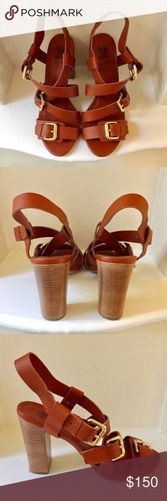 Brazilian Brand Leather Gold-Buckled Heels Gorgeous heels perfect for a girls' night out. Extremely well made in Brazil, worn twice and in excellent condition. Loucos & Santos Shoes Heels