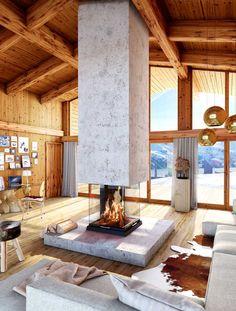interior home ideas Home Fireplace, Modern Fireplace, Fireplace Surrounds, Fireplace Design, Fireplaces, Fireplace Ideas, Modern Interior Design, Interior Architecture, Ideas Cabaña