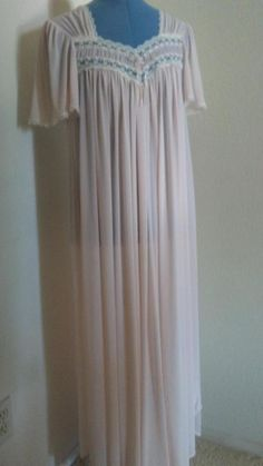 a689c67fe6 Long Pale Pink Nightgown in soft Nylon Tricot by Miss Elaine  fashion   clothing