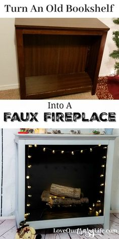 Gorgeous upcycle project! Turn a bookshelf into a faux fireplace. Best part is, it can easily go back to a bookshelf. Perfect for renters. Repurpose old furniture. #DIY #Furniture #HomeDecor | Home | Decor | DIY | Furniture | Home Design | Upcycle | Flip | via @thebeccarobins