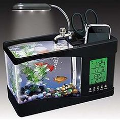 e1ce0112953050 Aquarium Alarm Clock - Features running water, LED light, and 6 different  tranquil nature
