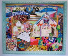 Butterfly GARDEN Altered Vintage Fabrics Collage Art mybonny,