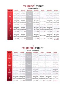 TurboFire Class Schedule:  (Page 1 of 3) Week 1-8 ~ Interested in a personal coach? Let's connect! Send an email to ginny.toll@gmail.com and let me know a little about your goals and lifestyle! We'll work together to pick the right program for you! #TurboFire #BeachBody